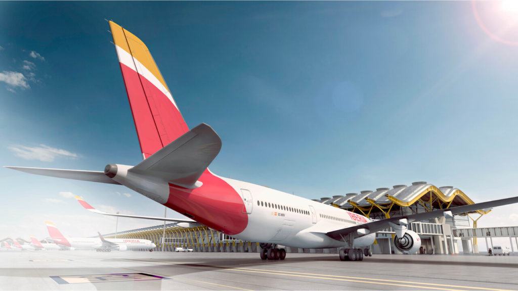 Avión de Iberia en el aeropuerto de Madrid-Barajas